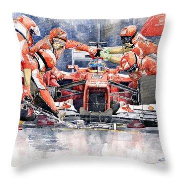 2012 Ferrari F 2012 Fernando Alonso Pit Stop Throw Pillow