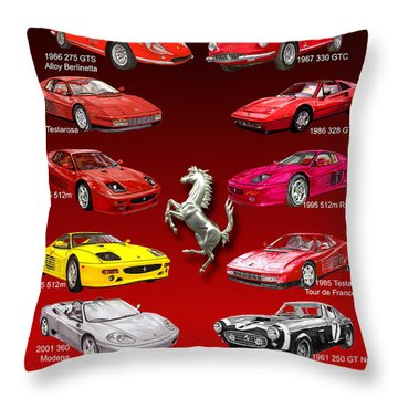 Ferrari Poster Art Throw Pillow by Jack Pumphrey