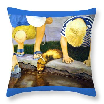 Throw Pillow featuring the painting Ferret And Friends by Karen Zuk Rosenblatt