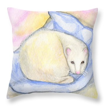 Ferret's Day Off Throw Pillow by Roz Abellera Art