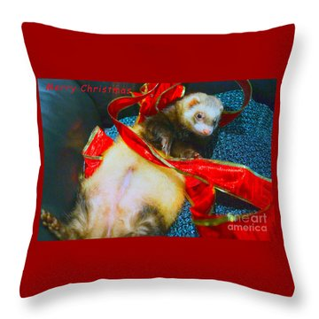 Throw Pillow featuring the photograph Ferrety Christmas IIi by Cassandra Buckley