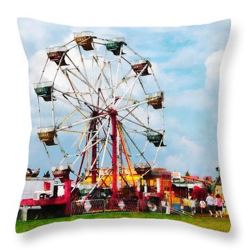 Ferris Wheel Against Blue Sky Throw Pillow by Susan Savad