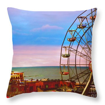 Ocean City New Jersey Ferris Wheel And Music Pier Throw Pillow