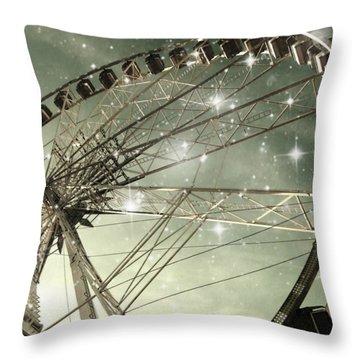 Ferris Wheel At Night In Paris Throw Pillow by Marianna Mills