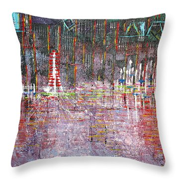 Ferris Wheel Fun - Sold Throw Pillow by George Riney