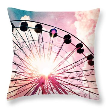 Ferris Wheel In Pink And Blue Throw Pillow