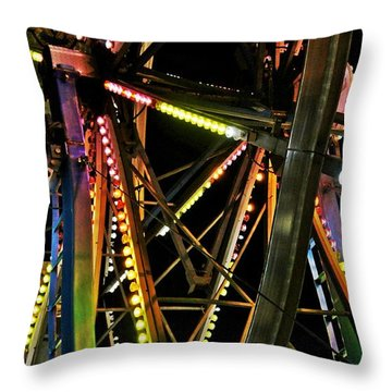 Throw Pillow featuring the photograph Lit Ferris Wheel  by Lilliana Mendez