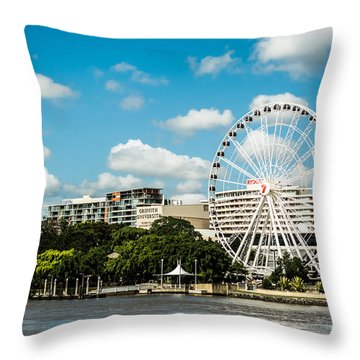 Ferris Wheel On The Brisbane River Throw Pillow by Parker Cunningham
