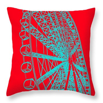 Ferris Wheel Silhouette Turquoise Red Throw Pillow