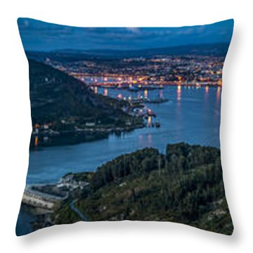 Throw Pillow featuring the photograph Ferrol's Estuary Panorama From La Bailadora Galicia Spain by Pablo Avanzini