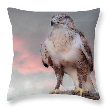 Ferruginous Hawk At Dusk Throw Pillow