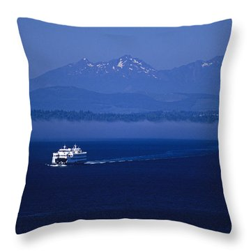 Ferry Boat In Puget Sound With Olympic Mountains Throw Pillow