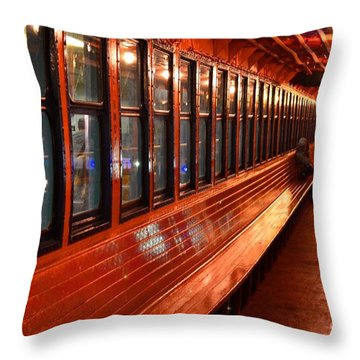Ferry Boat Riders Throw Pillow