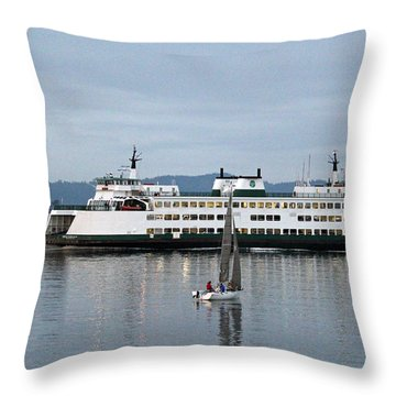 Throw Pillow featuring the photograph Ferry Issaquah And Sailboats by E Faithe Lester
