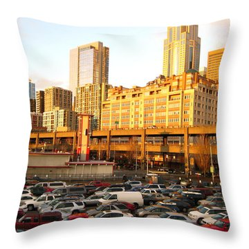 Ferry Lines At Sunset Throw Pillow by David Trotter