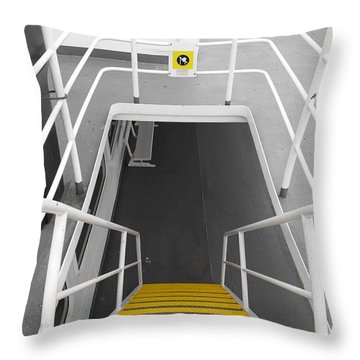 Throw Pillow featuring the photograph Ferry Stairwell by Marilyn Wilson