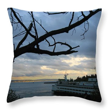 Ferryboat To Seattle  Throw Pillow