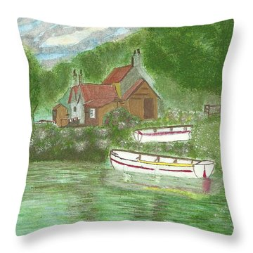 Throw Pillow featuring the painting Ferryman's Cottage by Tracey Williams