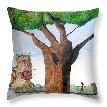 Throw Pillow featuring the painting Fertile Worlds by A  Robert Malcom