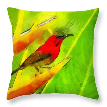Throw Pillow featuring the painting Festival Of Colors by Georgi Dimitrov