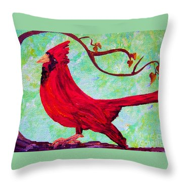 Throw Pillow featuring the painting Festive Cardinal by Eloise Schneider