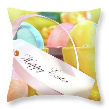 Festive Easter Eggs Throw Pillow by Sandra Cunningham