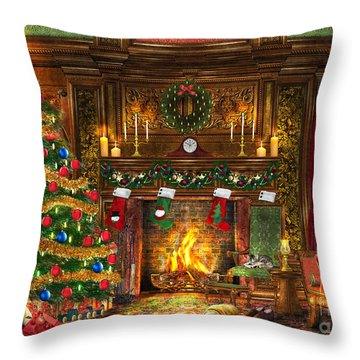 Festive Fireplace Throw Pillow by Dominic Davison