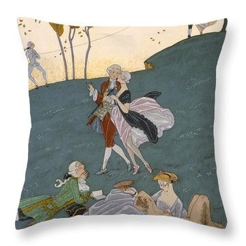 Fetes Galantes Throw Pillow by Georges Barbier