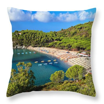 Fetovaia Beach - Elba Island Throw Pillow