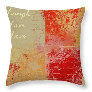 Feuilleton De Nature - Laugh Live Love - 01at01 Throw Pillow by Variance Collections