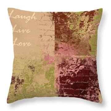 Feuilleton De Nature - Laugh Live Love - 01c4at Throw Pillow by Variance Collections