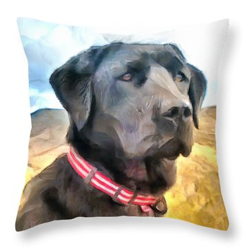 Throw Pillow featuring the painting Fido's Vision by Wayne Pascall