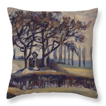 Throw Pillow featuring the painting Field Cross At Eyserhalte by Nop Briex