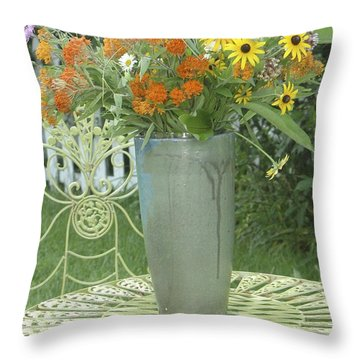 Throw Pillow featuring the photograph Field Flowers At The Mill by Delona Seserman