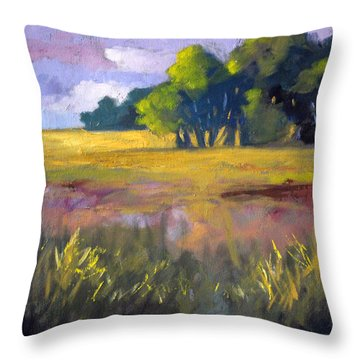 Field Grass Landscape Painting Throw Pillow