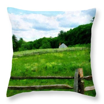 Field Near Weathered Barn Throw Pillow by Susan Savad