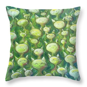 Field Of Cats Throw Pillow