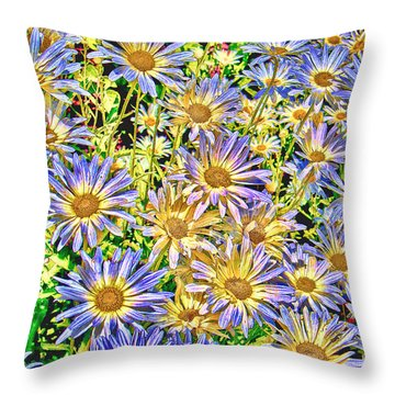 Field Of Colorful Flowers Throw Pillow by William Havle