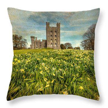 Field Of Daffodils Throw Pillow by Adrian Evans