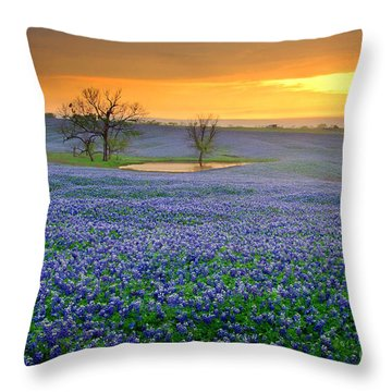 Field Of Dreams Texas Sunset - Texas Bluebonnet Wildflowers Landscape Flowers  Throw Pillow by Jon Holiday
