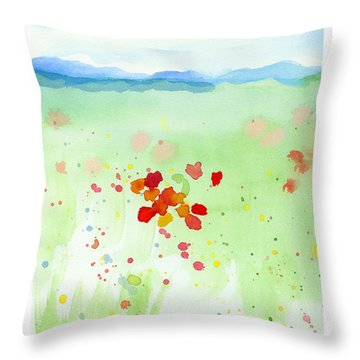 Throw Pillow featuring the painting Field Of Flowers 2 by C Sitton