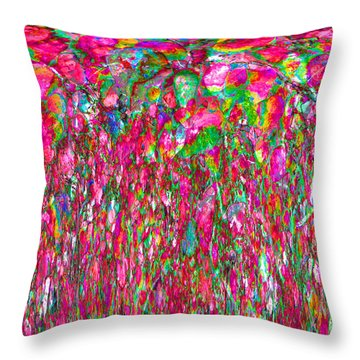 Field Of Flowers At Sunset Throw Pillow