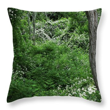 Field Of Love A Heart And Flowers Throw Pillow by Michelle Wiarda