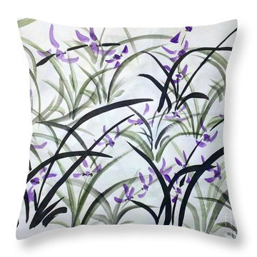 Field Of Orchids Throw Pillow