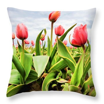 Throw Pillow featuring the photograph Field Of Pink Tulips by Athena Mckinzie