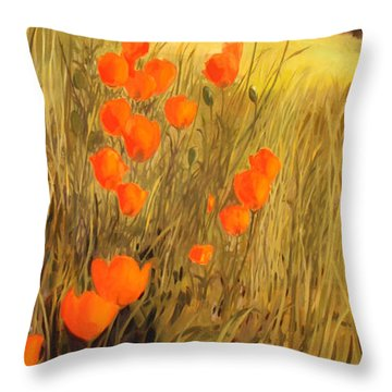 Field Of Poppies Throw Pillow by Sue  Darius