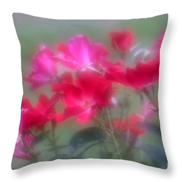 Throw Pillow featuring the photograph Field Of Roses by Mary Lou Chmura