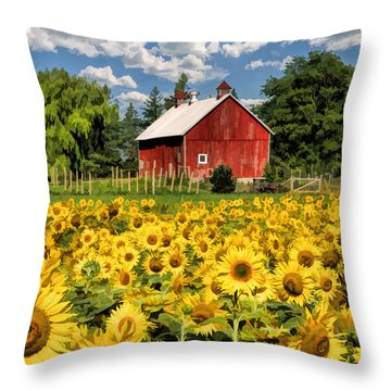 Field Of Sunflowers Throw Pillow by Christopher Arndt