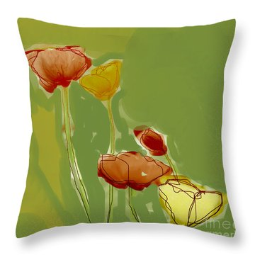 Throw Pillow featuring the photograph Field Poppies by Linde Townsend