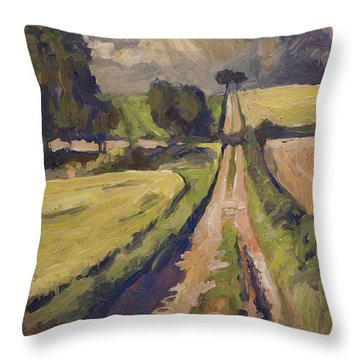 Throw Pillow featuring the painting Field Road Near Elkenrade by Nop Briex